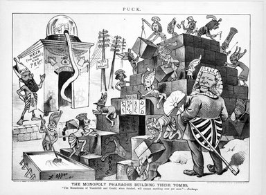 Brooklyn Museum: Cartoon, The Monopoly Pharoahs Building Their Tombs