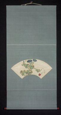 Nakamura Hochu (Japanese, died 1819). Morning Glories (Asagao), late 18th-early 19th century. Hanging scroll, ink, gold, color on paper, Image: 7 1/2 x 20 1/4 in. (19.1 x 51.4 cm). Brooklyn Museum, Purchase gift of Alvin Friedman-Kien Foundation, 2001.32