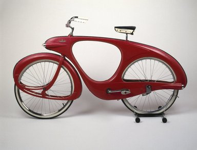 Benjamin G. Bowden (American, born England 1907-1998). Spacelander Bicycle, Prototype designed 1946; Manufactured 1960. Fiberglass, metal, glass, rubber, fox fur, 44 x 77 x 32 in. (111.8 x 195.6 x 81.3 cm). Brooklyn Museum, Marie Bernice Bitzer Fund, 2001.36. Creative Commons-BY