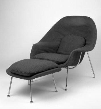Eero Saarinen (American, born Finland, 1910-1961). Womb Chair Ottoman, Model No. 74, designed 1947-1948, made ca. 1959. Chrome-plated tubular steel, fiberglass, plastic, wood-particle shell, latex foam, upholstery, 16 x 25 1/2 x 20 in. (40.6 x 64.8 x 50.8 cm). Brooklyn Museum, Gift of Sandra Sheppard Rodgers, Gail Sheppard Moloney, Lynn Sheppard Manger, and John W. Sheppard, Jr. from the Estate of their mother, Rose Jackson Sheppard Milbank, by exchange, 2001.37.2. Creative Commons-BY