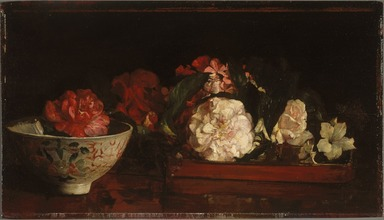 Brooklyn Museum: Flowers on a Japanese Tray on a Mahogany Table
