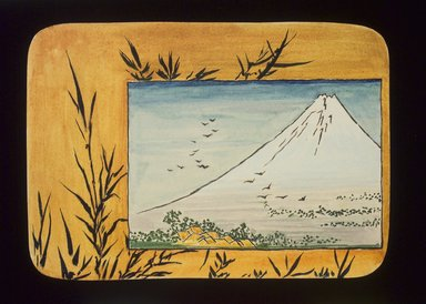 Christopher Grant La Farge (American, 1862-1938). Small Card Decorated with Mount Fuji (recto) and Paint Bowl and Brush (verso), ca. 1880. Watercolor and black ink on very thin card stock, 3 3/16 x 4 5/16 in. (8 x 11 cm). Brooklyn Museum, Bequest of Christiana C. Burnett, 2001.47.4a-b
