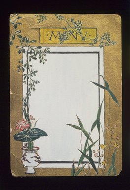 Christopher Grant La Farge (American, 1862-1938). Menu Card Decorated with Bamboo and Flowers, ca. 1880. Watercolor, black ink and metallic paint on very thin card stock, 5 x 3 1/2 in. (12.7 x 8.9 cm). Brooklyn Museum, Bequest of Christiana C. Burnett, 2001.47.9