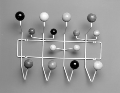 """Charles Eames (American, 1907-1978). """"Hang-It-All"""" Coat Rack, Designed 1953; Manufactured 1953-1961. Enameled metal, painted wood, 16 x 19 3/4 x 6 1/4 in.  (40.6 x 50.2 x 15.9 cm). Brooklyn Museum, H. Randolph Lever Fund, 2001.50. Creative Commons-BY"""