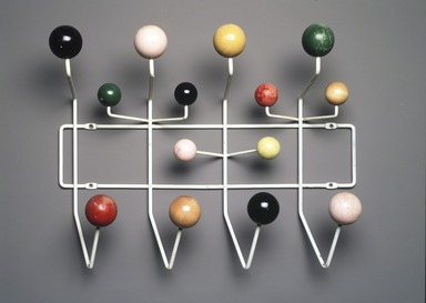 "Charles Eames (American, 1907-1978). ""Hang-It-All"" Coat Rack, Designed 1953; Manufactured 1953-1961. Enameled metal, painted wood, 16 x 19 3/4 x 6 1/4 in.  (40.6 x 50.2 x 15.9 cm). Brooklyn Museum, H. Randolph Lever Fund, 2001.50. Creative Commons-BY"