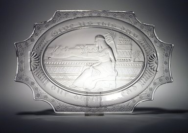 Platter (Cleopatra), late 19th century. Glass, 1 3/8 x 13 1/4 x 8 5/8 in. (3.5 x 33.7 x 21.9 cm). Brooklyn Museum, Gift of Richard Fazzini and Mary McKercher, 2001.53. Creative Commons-BY