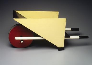 Gerrit Th. Rietveld (Dutch, 1888-1964). Child's Wheelbarrow, designed 1923; made 1958. Wood. pigment, metal, 13 x 26 x 10 1/2 in. (33 x 66 x 26.7 cm). Brooklyn Museum, Marie Bernice Bitzer Fund, 2001.87. Creative Commons-BY