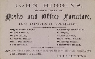 Brooklyn Museum: Business Card, John Higgins, 130 Spring Street
