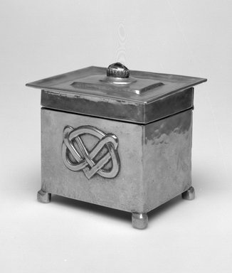 Box, 1900-1905. Pewter, amethyst, 3 1/4 x 4 x 3 3/8 in.  (8.3 x 10.2 x 8.6 cm). Brooklyn Museum, Gift of Rosemarie Haag Bletter and Martin Filler, 2001.90.6. Creative Commons-BY