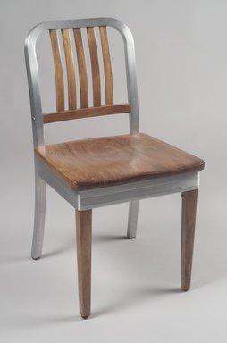 Shaw-Walker Company. Side Chair, ca. 1940. Aluminum, wood, 32 x 17 1/8 x 19 1/2 in. (81.3 x 43.5 x 49.5 cm). Brooklyn Museum, Gift of Fernande Ross, 2001.92. Creative Commons-BY