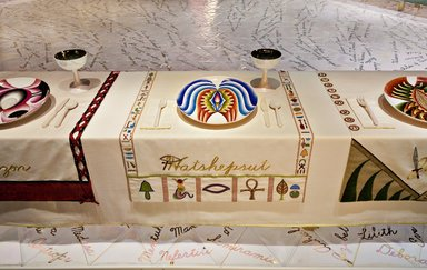Judy Chicago (American, born 1939). The Dinner Party, 1974-1979. Ceramic, porcelain, textile; triangular table, 576 x 576 in. (1463 x 1463 cm). Brooklyn Museum, Gift of The Elizabeth A. Sackler Foundation, 2002.10. © Judy Chicago