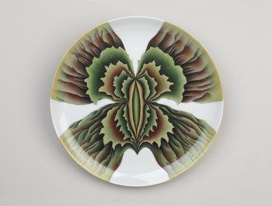 "Judy Chicago (American, born 1939). Aspasia Place Setting, 1974-1979. Runner: Cotton/linen base fabric, woven interface support material (horsehair, wool, and linen), cotton twill tape, silk, stiffened cotton/linen fabric, ""polished cotton"" fabric, silk thread, metallic cord, cotton, thread
