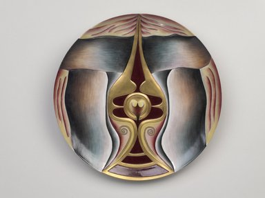 "Judy Chicago (American, born 1939). Boadaceia Place Setting, 1974-1979. Runner:Cotton/linen base fabric, woven interface support material (horsehair, wool, and linen), cotton twill tape, silk, synthetic gold cord, silk thread, handmade wool/felt forms, wool yarn, copper, ""jewels,"" thread