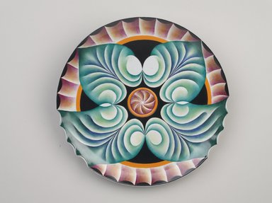 Judy Chicago (American, born 1939). Hypatia Place Setting, 1974-1979. Runner:Cotton/linen base fabric, woven interface support material (horsehair, wool, and linen), cotton twill tape, silk, synthetic gold cord, weft-faced bleached linen tapestry, single-ply wool weft, silk thread, wool thread, rubber rings