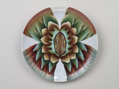 Judy Chicago (American, born 1939). Marcella Place Setting, 1974-1979. Runner:Cotton/linen base fabric, woven interface support material (horsehair, wool, and linen), cotton twill tape, silk, synthetic gold cord, wool, camel hair, wool fabric, silk thread