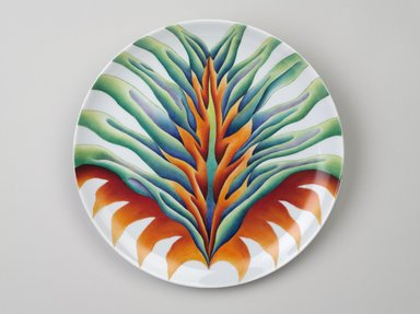 Judy Chicago (American, born 1939). Saint Bridget Place Setting, 1974-1979. Runner:Cotton/linen base fabric, silk, woven interface support material (horsehair, wool, and linen), cotton twill tape, silk, synthetic gold cord, hardwood, wool, monofilament nylon thread, silk, cotton floss thread, yarn, thread
