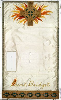 Judy Chicago (American, born 1939). Saint Bridget Place Setting, 1974-1979. Runner:Cotton/linen base fabric, silk, woven interface support material (horsehair, wool, and linen), cotton twill tape, silk, synthetic gold cord, hardwood, wool, monofilament nylon thread, silk, cotton floss thread, yarn, thread Plate: Porcelain with overglaze enamel (China paint), Runner:51 5/8 x 30 1/4 (131.1 x 76.8 cm). Brooklyn Museum, Gift of The Elizabeth A. Sackler Foundation, 2002.10-PS-15. © Judy Chicago