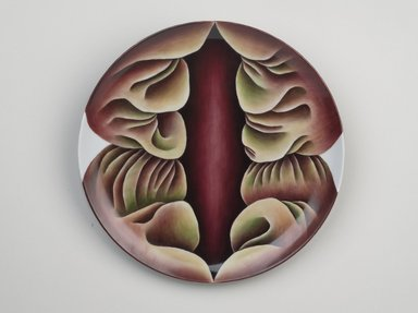 Judy Chicago (American, born 1939). Primordial Goddess Place Setting, 1974-1979. Runner:Cotton/linen base fabric, woven interface support material (horsehair, wool, and linen), cotton twill tape, silk, synthetic gold cord, unborn calf skins, cowry shells, stone beads, fabric paint, thread