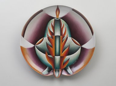 Judy Chicago (American, born 1939). Petronilla de Meath Place Setting, 1974-1979. Runner: Cotton/linen base fabric, woven interface support material (horsehair, wool, and linen), cotton twill tape, silk, synthetic gold cord, wool, silk, cotton, felt padding, wool and cotton cords, yarn, cotton floss, thread Plate: Porcelain with overglaze enamel (China paint) and paint, Runner: 51 1/2 x 21 in. (130.8 x 53.3 cm). Brooklyn Museum, Gift of The Elizabeth A. Sackler Foundation, 2002.10-PS-21. © Judy Chicago
