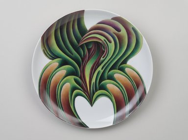 Judy Chicago (American, born 1939). Christine de Pisan Place Setting, 1974-1979. Runner: Cotton/linen base fabric, woven interface support material (horsehair, wool, and linen), cotton twill tape, silk, synthetic gold cord, canvas, wool yarn, thread Plate: Porcelain with overglaze enamel (China paint), Runner: 51 3/4 x 30 1/8 (131.4 x 76.5 cm). Brooklyn Museum, Gift of The Elizabeth A. Sackler Foundation, 2002.10-PS-22. © Judy Chicago