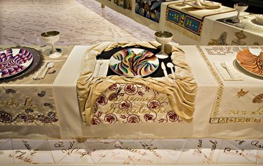 Judy Chicago (American, born 1939). Artemisia Gentileschi Place Setting, 1974-1979. Runner: Decorative fabrics, cotton/linen base fabric, woven interface support material (horsehair, wool, and linen), cotton twill tape, silk, synthetic gold cord, silk velvet fabric, felt, linen interface, silk fabrics, textile paint, metallic cord, silk thread