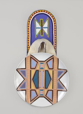 Judy Chicago (American, born 1939). Sacajawea Place Setting, 1974-1979. Runner: Cotton/linen base fabric, cotton twill tape, silk, synthetic gold cord, tanned deerskin, glass beads, thread