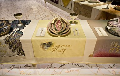 Judy Chicago (American, born 1939). Virginia Woolf Place Setting, 1974-1979. Runner: Cotton/linen base fabric, woven interface support material (horsehair, wool, and linen), cotton twill tape, silk, synthetic gold cord, airbrushed acrylic paint, silk chiffon, silk embroidery thread,