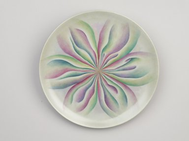 Judy Chicago (American, born 1939). Sophia Place Setting, 1974-1979. Runner: Cotton/linen base fabric, woven interface support material (horsehair, wool, and linen), cotton twill tape, silk, synthetic gold cord, silk chiffon, net Plate:Porcelain with overglaze enamel (China paint), rainbow overglaze, Runner: 51 1/8 x 30 1/8 in. (129.9 x 76.5 cm). Brooklyn Museum, Gift of The Elizabeth A. Sackler Foundation, 2002.10-PS-6. © Judy Chicago