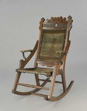 Edward W. Vaill (1861-1891). Rocking Chair, ca. 1880. Wood, original woven upholstery, and metal, 39 3/4 x 23 7/8 x 30 1/2 in. (101 x 60.6 x 77.5 cm). Brooklyn Museum, Gift of Dr. Alvin E. Friedman-Kien, 2002.107.3. Creative Commons-BY