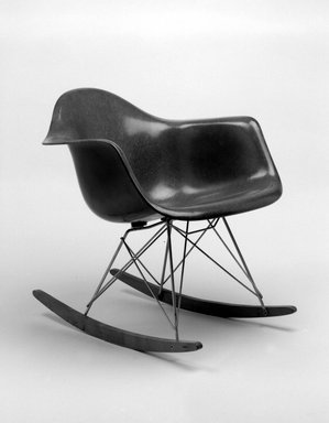 Charles Eames (American, 1907-1978). Rocker, ca. 1950. Fiberglass, wood, metal, rubber, 26 1/2 x 24 3/4 x 27 1/8 in. (67.3 x 62.9 x 68.9 cm). Brooklyn Museum, Gift of Dr. Alvin E. Friedman-Kien, 2002.107.4. Creative Commons-BY