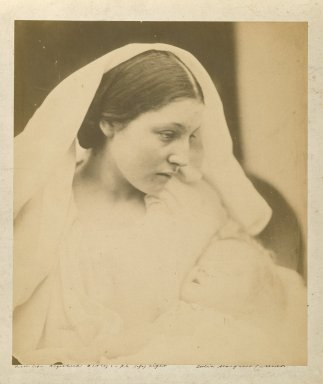 Julia Margaret Cameron (British, born India, 1815-1879). La Madonna Riposata/ Resting in Hope, 1864. Albumen silver photograph, Image: 9 1/2 x 8 in. (24.1 x 20.3 cm). Brooklyn Museum, Gift of Rosemarie Haag Bletter and Martin Filler, 2002.112.2