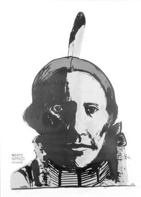 Leonard Baskin (American, 1922-2000). White Buffalo, 1993. Lithograph, 41 1/2 x 29 3/4 in. (105.4 x 75.6 cm). Brooklyn Museum, Gift of Estelle Unger, 2002.117. © Estate of Leonard Baskin, Courtesy Galerie St. Etienne, New York
