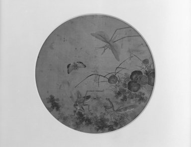 Four Insects in a Garden Setting, 18th-19th century. Ink color on silk, 10 9/16 in. (26.8 cm). Brooklyn Museum, Gift of Dr. Alvin E. Friedman-Kien, 2002.119.13