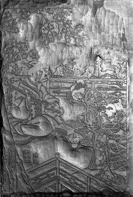 Utagawa Toyokuni III  (Kunisada) (side a) (Japanese, 1786-1864). Double-sided Key Block for Ukiyo-e Print, ca. 1830. Cherry wood, 15 1/2 x 10 1/8 x 3/8 in. (39.4 x 25.7 x 1 cm). Brooklyn Museum, Gift of Dr. Alvin E. Friedman-Kien, 2002.119.15a-b. Creative Commons-BY