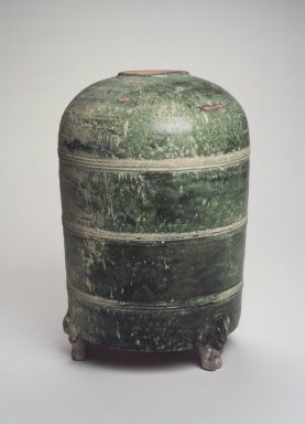 Granary, 206 B.C.E.-220 C.E. Earthenware with green glaze, Height: 13 1/8 in. (33.3 cm). Brooklyn Museum, Gift of Dr. Alvin E. Friedman-Kien, 2002.119.5. Creative Commons-BY