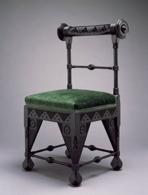 Daniel Pabst (American, born Germany, 1826-1910). Chair, ca. 1880. Ebonized cherry, old, but not original, silk velvet fabric, 37 1/8 x 21 3/4 x 19 in. (94.3 x 55.2 x 48.3 cm). Brooklyn Museum, Marie Bernice Bitzer Fund, 2002.11. Creative Commons-BY