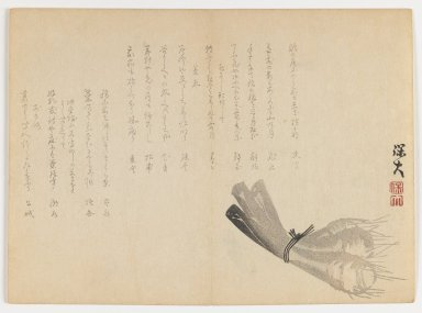 Hodai Satô (Japanese, active 1830s-1860s). Three Root Vegetables, ca. 1860. Woodblock print; horizontal Chûban yoko-e format, 7 1/8 x 9 3/4 in. (18.1 x 24.8 cm). Brooklyn Museum, Gift of Dr. Eleanor Z. Wallace in memory of her husband, Dr. Stanley L. Wallace, 2002.121.14