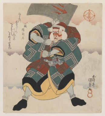Utagawa Toyokuni III  (Kunisada) (Japanese, 1786-1864). Ichikawa Danjuro VII Wielding an Axe wearing a White-haired Wig, 1825. Woodblock print, shikishiban format; (right sheet of a tryptych), deluxe printing, 6 5/16 x 7 7/8 in. (16 x 20 cm). Brooklyn Museum, Gift of Dr. Eleanor Z. Wallace in memory of her husband, Dr. Stanley L. Wallace, 2002.121.6