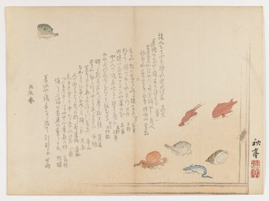 Shûtei Tanaka (Japanese, 1810-1858). Various Fish, Spring, 1855. Woodblock print; Chûban yoko-e format, 7 1/8 x 9 in. (18.1 x 24.8 cm). Brooklyn Museum, Gift of Dr. Eleanor Z. Wallace in memory of her husband, Dr. Stanley L. Wallace, 2002.121.8