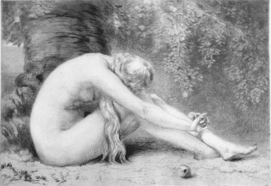 Anna Lea Merritt ((American, 1844-1930)). Eve (Eve Repentant). Etching, Sheet: 18 x 23 5/8 in. (45.7 x 60 cm). Brooklyn Museum, Gift of Rona and Martin L. Schneider, 2002.125. Creative Commons-BY