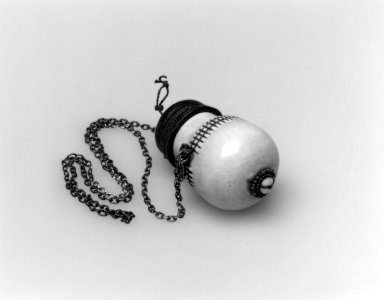 Massai Kisongo. Snuff Container, 19th or 20th century. Ivory, leather, metal, glass beads, fiber, loose stone, vessel:  3 x 1 3/4 x 1 3/4 in.  (7.6 x 4.4 x 4.4 cm);. Brooklyn Museum, Gift of Blake Robinson, 2002.31.8a-b. Creative Commons-BY