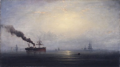 James Hamilton (American, 1819-1878). Foggy Morning on the Thames, ca. 1875. Oil on panel, 9 5/16 x 16 1/4 in. (23.7 x 41.3 cm). Brooklyn Museum, Bequest of Nancy Hay, 2002.32.1