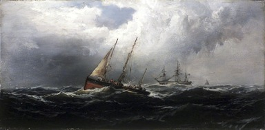 James Hamilton (American, 1819-1878). After a Gale--Wreckers, ca. 1875. Oil on panel, 7 15/16 x 16 in. (20.2 x 40.7 cm). Brooklyn Museum, Bequest of Nancy Hay, 2002.32.2