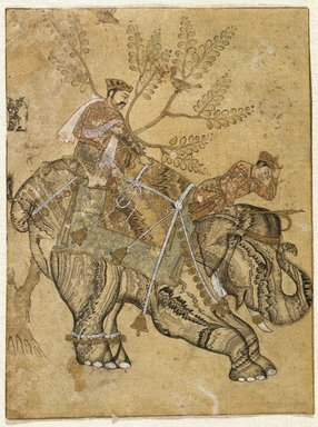 Indian. Stalling Elephant, mid 17th century. Ink, gold and watercolor on paper, Sheet: 6 1/2 x 4 7/8 in. (16.5 x 12.4 cm). Brooklyn Museum, Gift of Dr. Bertram H. Schaffner in celebration of his 90th Birthday, 2002.38