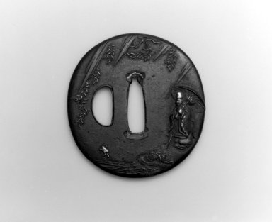 Sword Guard (Tsuba), 19th century. Iron, iroe, copper, 2 3/4 x 2 5/8 in.  (7 x 6.7 cm). Brooklyn Museum, Bequest of Christiana C. Burnett, 2002.4.11. Creative Commons-BY