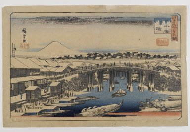 Utagawa Hiroshige (Ando) (Japanese, 1797-1858). View of Nihonbashi Bridge, Edo,  (Edo Meisho). Woodblock print, color on paper, Image: 8 1/2 x 13 3/4 in., with gilt wood frame: 15 3/4 x 22 1/4 in. Brooklyn Museum, Bequest of Christiana C. Burnett, 2002.4.2