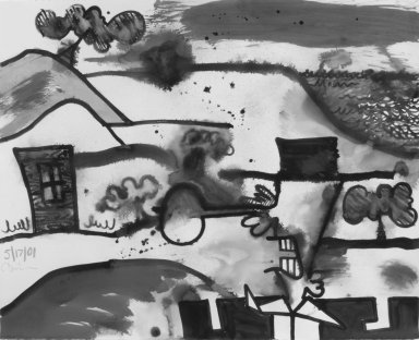 Carroll Dunham (American, born 1949). Untitled (5/17/01), 2001. Acrylic and wash on paper, 42 x 52 in. (106.7 x 132.1 cm). Brooklyn Museum, Alfred T. White Fund, 2002.44. © Carroll Dunham