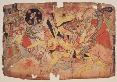 Deities Battle a Tiger, ca. 1830-1850. Watercolor on paper, 11 1/4 x 16 1/2 in. (28.6 x 41.9 cm). Brooklyn Museum, Anonymous gift, 2002.68