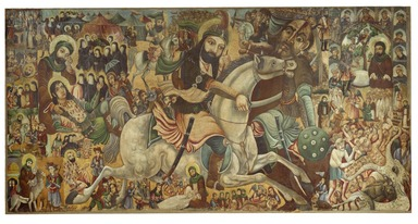 Abbas Al-Musavi. Battle of Karbala, late 19th-early 20th century. Oil on canvas, 72 x 118 in., 104 lb. (182.9 x 299.7 cm, 47.17kg). Brooklyn Museum, Gift of K. Thomas Elghanayan in honor of Nourollah Elghanayan, 2002.6