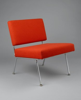 Florence Knoll Bassett (American, born 1917). Side Chair, Model 31, designed 1954, manufactured after 1956. Chromed steel, upholstery (wool and nylon), 28 3/4 x 23 3/4 in. (73 x 60.3 cm). Brooklyn Museum, Gift of Liliane M. Stewart, 2002.70.1. Creative Commons-BY